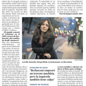 """Intervista di """"La Vanguardia"""" a Lorella Zanardo"""